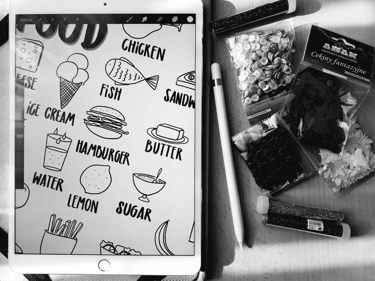 FOOD rysowane karty pracy dla najmłodszych- notatki wizualne dla anglistów