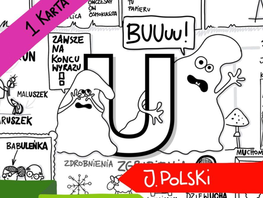 """Obrazkowa karta ortograficzna """"U""""."""