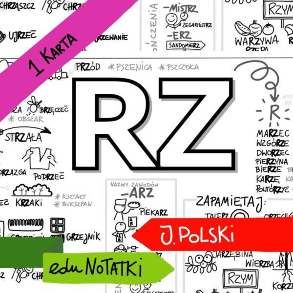 Obrazkowa karta do nauki ortografii z literką rz.